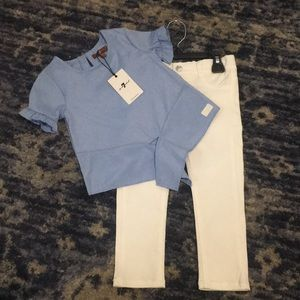 NWT 7 for all Mankind Girls Top Jeans Set 24mos